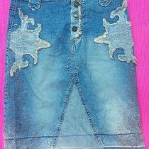 Bebe Jeans Decorative Jean Skirt Size Xs - Vintage Photo