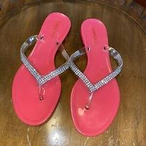 Bebe Jelly Rhinestone Thong Neon Pink Sandals Size 6 Photo