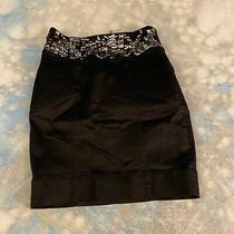 Bebe Kardashian Sz 2 Black Satin Body Con Silver Sequin Waist Mini Skirt Photo