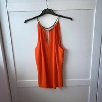 Bebe Large Uk 10-12 Orange & Gold Chain Choker Halter Neck Cami Vest top.gold Photo