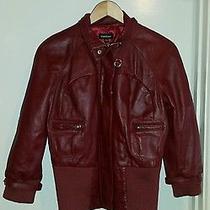 Bebe Leather Motorcycle Jacket Burgundy Size M  Photo