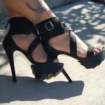 Bebe Leather Sandals Jolene Platform Size 6  Photo