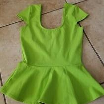 Bebe Lime Summer Green Peplum Top Size S  Photo