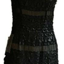 Bebe Limited Edition Embellished Leather/sequins Mini Dress-Black-Size 6 Photo