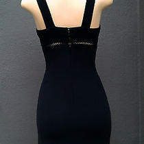 Bebe Little Black Body Con Dress See-Through Black  Lace Empire Waist Lined S/4. Photo