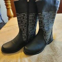 Bebe Little Girl Rain Boots Black and White Size 1  Photo