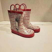 Bebe Little Girl Rain Boots White and Pink Size Xl (11-12) New Photo