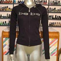 Bebe Logo Silver Rhinestones Black Hoodie Sweater Y2k Size Small 2000s Trendy Photo