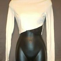 Bebe Long Sleeve Crop Top Zip Up White Faux Leather Collar Women S Photo