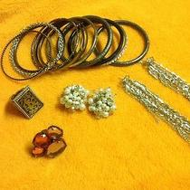 Bebe Lot of Mixed Accessories Earings Rings Bracelet Bangles. Photo