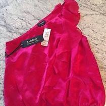 Bebe Luxurious Silk One Shoulder Fuschia Top Photo