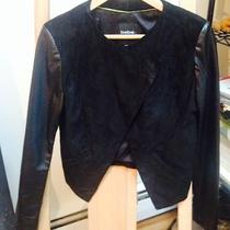 Bebe Luxurious Suede Leather Drape Collar Jacket - Size Small Photo