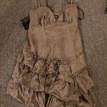 Bebe Mahogany Silk Ruffle Party Dress Nwt Sz Medium With Belt Photo
