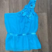 Bebe Medium Silk Blue Teal One Shoulder Silk Floral Top Sexy Turquoise Lined  Photo