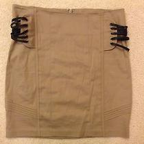 Bebe Mini Skirt Tan Women's Laced Black Corset Tie Sides Sexy 89 Size 4 Photo