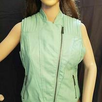 Bebe Motorcycle Women's Vest Green Leather With Two Pockets and Zippers Size S Photo