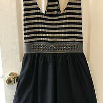 Bebe New Black/grey Dress With Studded Waist and Lined Flare Skirt Size Small Photo
