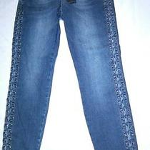 Bebe New Side Lace Up Skinny Cropped Jeans Nwt Sz 29 Blue Denim Promenade Sexy Photo