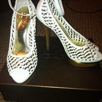 Bebe Nina White/gold Woven Weave Stacked Heel Platform With Ankle Strap Sz 7 Photo