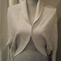 Bebe Off-White See-Through Shimmer Sweater Size Sm Photo