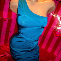 Bebe One Shoulder Mesh Inset Bandage Dress Small Aqua Blue Last One  Photo