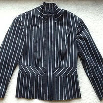 Bebe Peplum Pinstripe Jacket 6 Pant Top Dress Blazer Black/white  Guessmarciano Photo