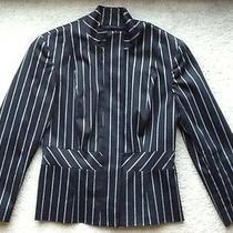 Bebe Peplum Pinstripe Jacket 6 Pant Top Dress Blazer Black/white  Guessmarciano Photo