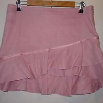 Bebe Pink Asymmetric Micro Mini Skirt 10 Linen Blend Ruffle Made in Usa  Photo