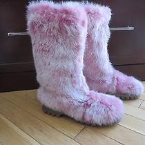 Bebe Pink Rabbit Fur Boots Sz 6 Photo