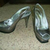 Bebe Platform Spike Heels Silver Size 8 M  Photo