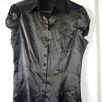 Bebe Pure Silk Black Blouse  Size Large Photo