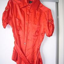 Bebe Pure Silk Red Blouse  Size Medium  Photo