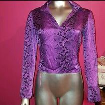Bebe Purple Snakeskin Collared Blouse Top Shirt Purple Black 100% Silk Business Photo