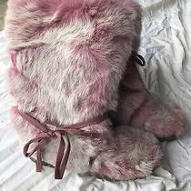 Bebe Rabbit Fur Fuzzy  Boots Awesome Condition Pink.  Sturdy Winter Boots Size 8 Photo