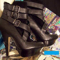 Bebe Rare Rosemond Black Leather Booties Size 7 Club Stripper Exotic Dancer Goth Photo