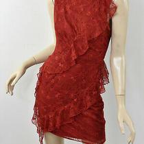 Bebe Red Dahlia Lace Spiral Ruffle Dress Sleeveless Cocktail Sheath S 6 Photo