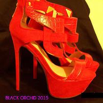 Bebe Red Leather Suede Stiletto Platform Heels Club Stripper Exotic Dancer Prom Photo