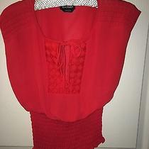 Bebe Red Peasant Top Red Xxs Photo