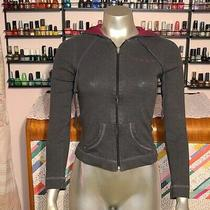 Bebe Red Rhinestones Hoodie Sweater Burgundy Grey Xs Extra Small Fitted Gray Photo