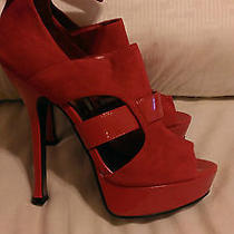 Bebe Red Suede & Patent Strappy Heels 7 Party/prom/club/stripper/exotic Dancer Photo