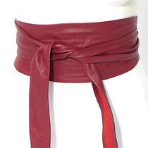 Bebe Red Wine Burgundy Leather Tie Belt  Photo