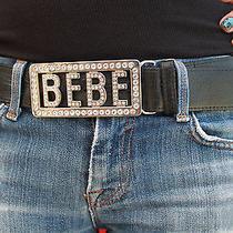 Bebe Rhinestones Black Leather Belt  Photo
