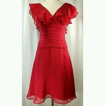 Bebe Ruffle v-Neck Sheer Empire Waist Tiered Solid Sleeveless 2 Silk Lacquer Red Photo