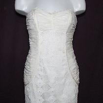 Bebe S Strapless Ruche Crochet Ruffle Trim Corset Dress White Mini Silk/cotton Photo