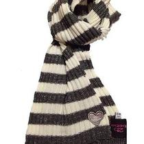 Bebe Scarf Striped Scarf Long Scarf Acrylic Knit Grey White Silver Nwot Photo