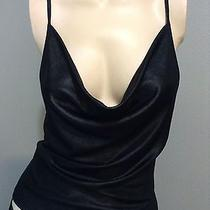 Bebe Sexy Black Stretch  Liquid Leather Drape Front Tank Top Clubbing Cocktail Photo