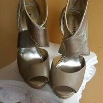 Bebe Shoes (Sale)size 7 Beige and Gold and Gold Heel Platform Shoe Photo