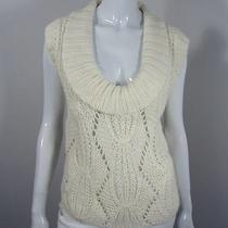 Bebe Short Sleeve Cowl Neck Cabled Sweater Size M Medium White 131 Photo