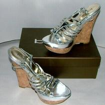 % Bebe Silver Wedge Sandal Shoe Size 10 in Box Lot P-18 Photo