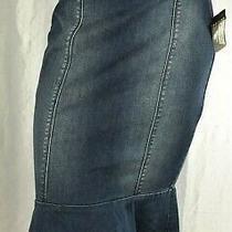 Bebe Size 6 Denim Blue Midi Peplum Skirt Nwt 99 Photo